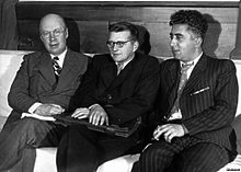 From left to right: Sergei Prokofiev, Shostakovich, Aram Kachaturian, 1945